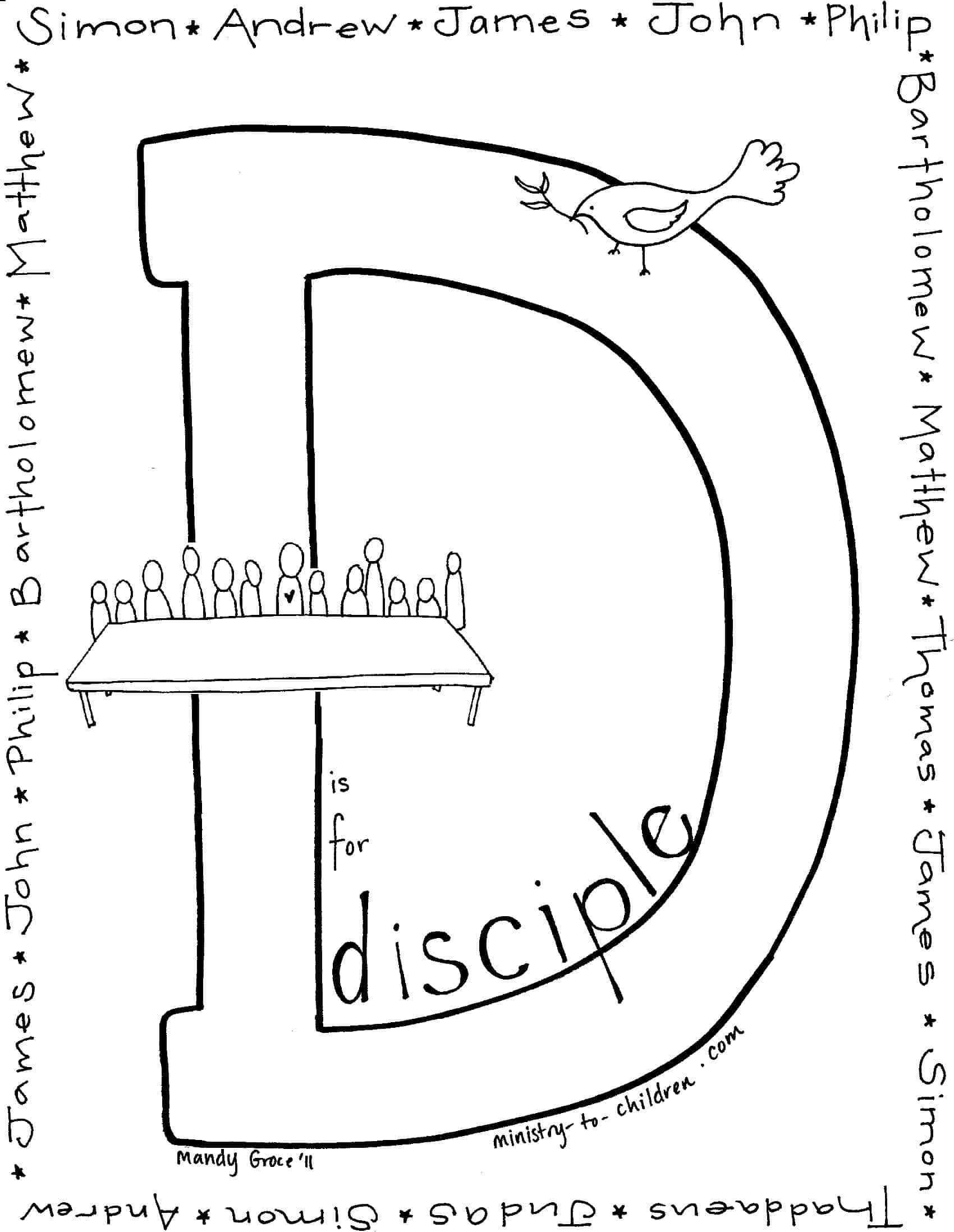 D Is For Disciple Coloring Page
