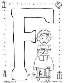 "Coloring page ""F is for Faith"""