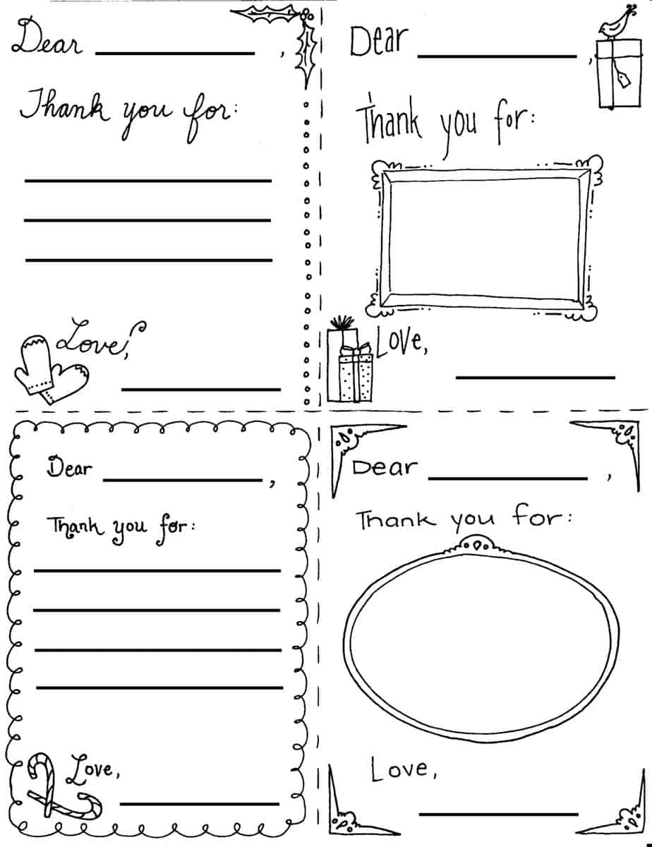 """Christmas """"Thank You Cards"""" Coloring Page"""