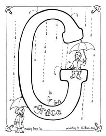 """Bible Alphabet coloring page """"G is for God's Grace"""""""