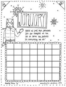January Calendar Coloring Page