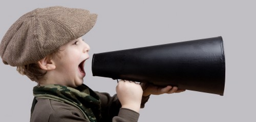 Boy with old-fashioned megaphone