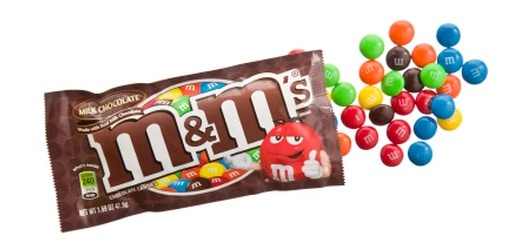 M&M's candy bag open