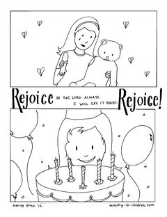 Rejoice in the Lord coloring page