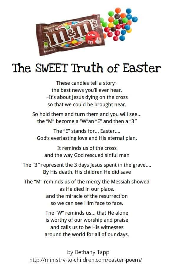 m&m easter poem printable