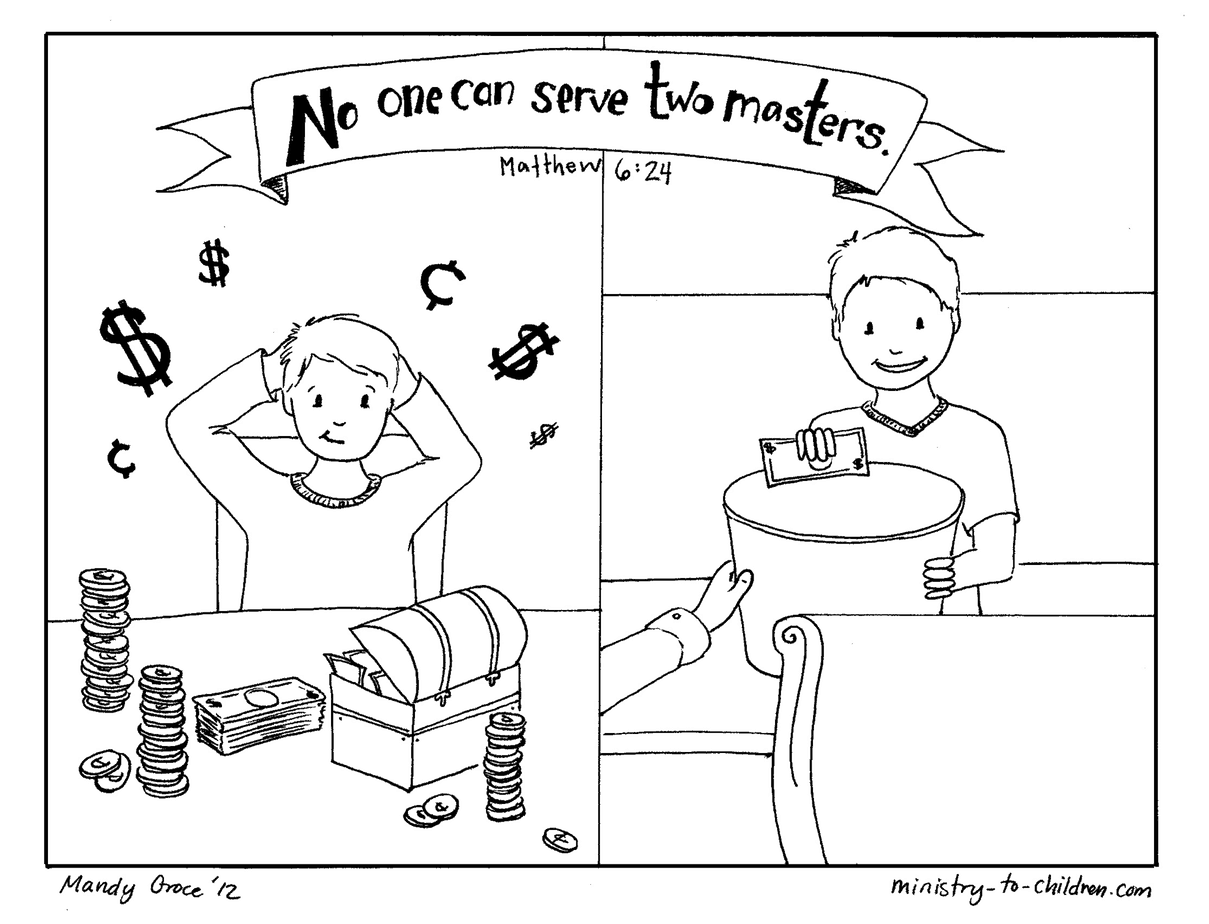 No One Can Serve Two Masters Coloring Page Matthew 6 24