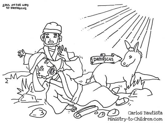 """""""Saul On The Road To Damascus"""" Coloring Page"""