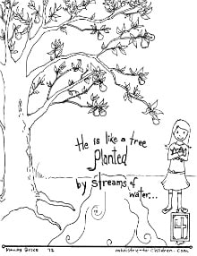 Planted by streams of water - coloring page - psalm 1