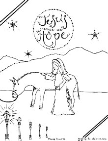 Mary and Joseph Travel to Bethlehem Coloring - Get Coloring Pages | 285x220