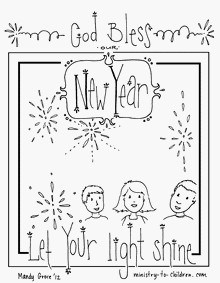 New Year S Coloring Page Let Your Light Shine Ministry To