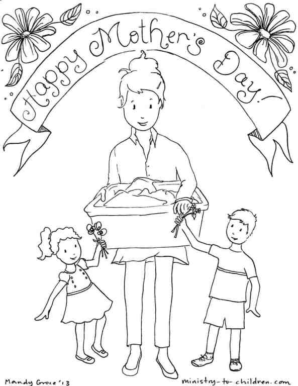 Mother with two children - Mother's Day coloring page