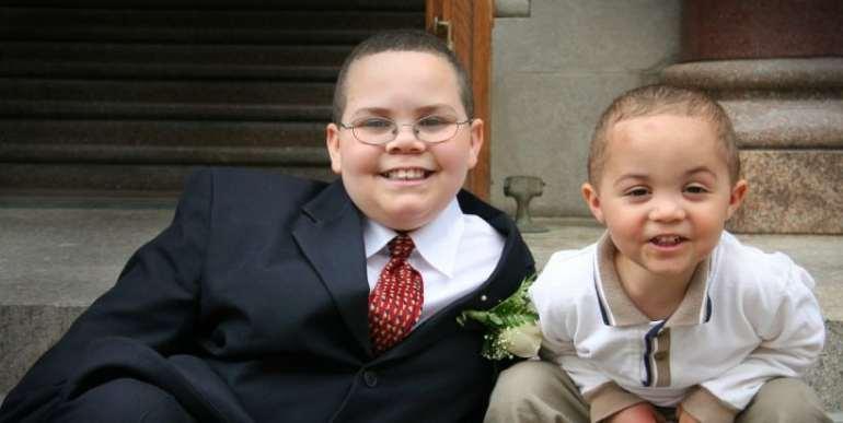 Two boys at a church