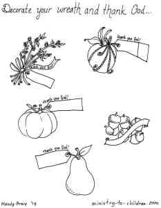 Thankfulness Wreath Craft Project & Coloring Sheets