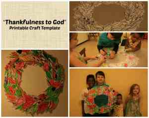 thankful to God wreath craft project for Sunday School