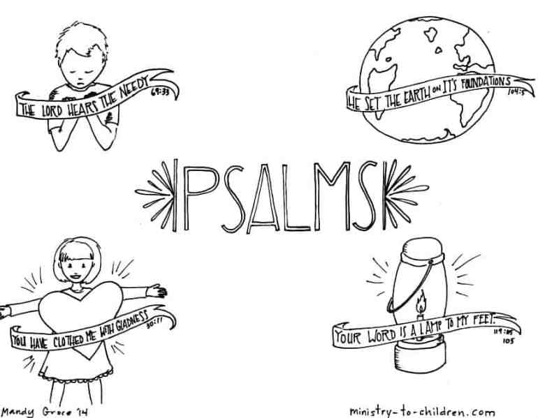"""""""Psalms"""" Bible Coloring Page"""