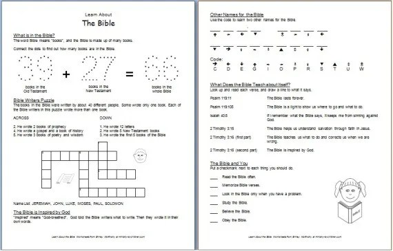 """Learn about the BIble"" Free Printable Worksheets for Kids"