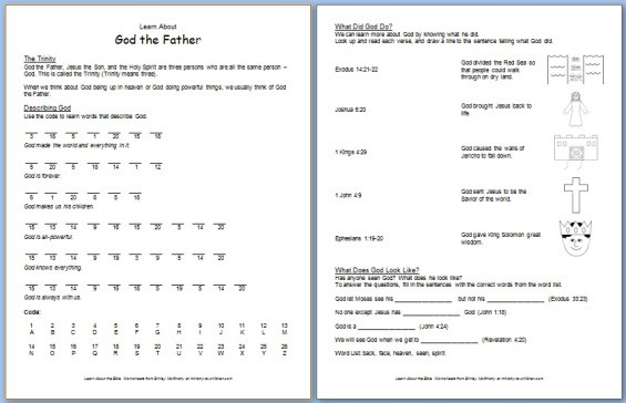 """Printable """"God the Father"""" Bible Worksheet for Kids"""