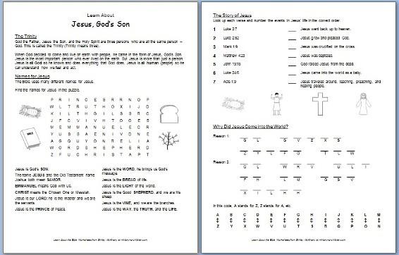 Bible Worksheet Printable for Sunday School