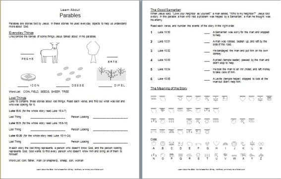 """""""Parables"""" Bible Worksheet for Children"""