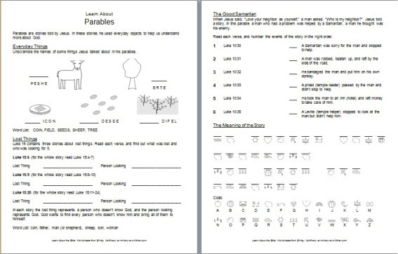 """Parables"" Bible Worksheet for Children"