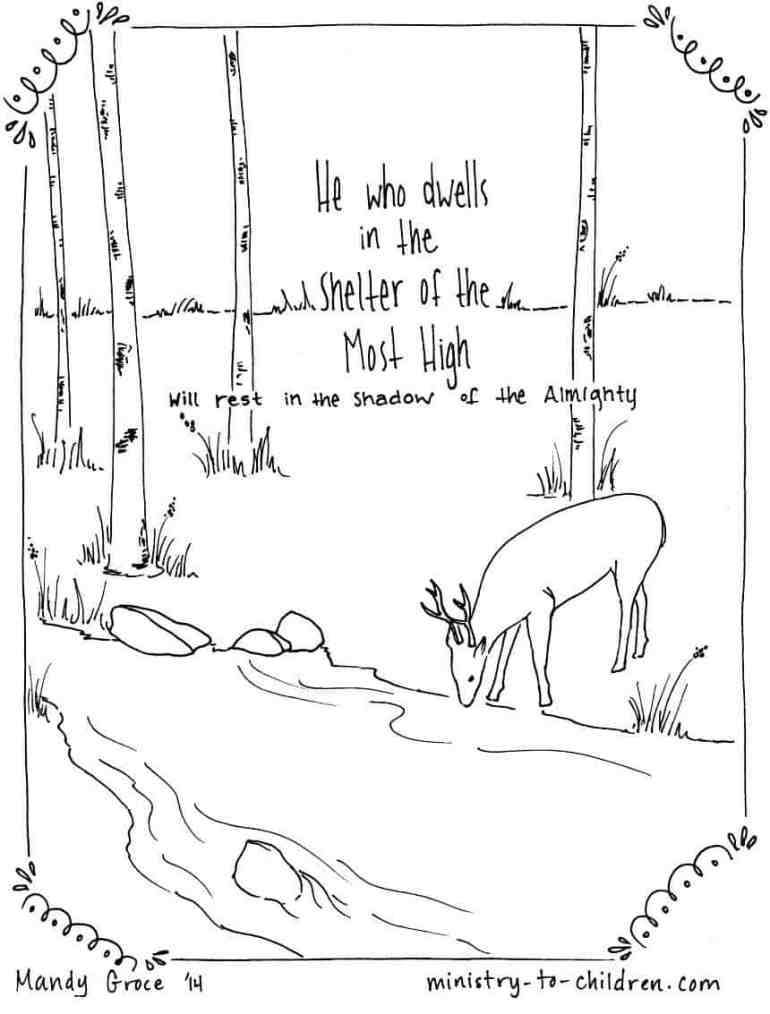 "Psalm 91:1 Coloring Page ""He who dwells in the shelter of the Most High"""