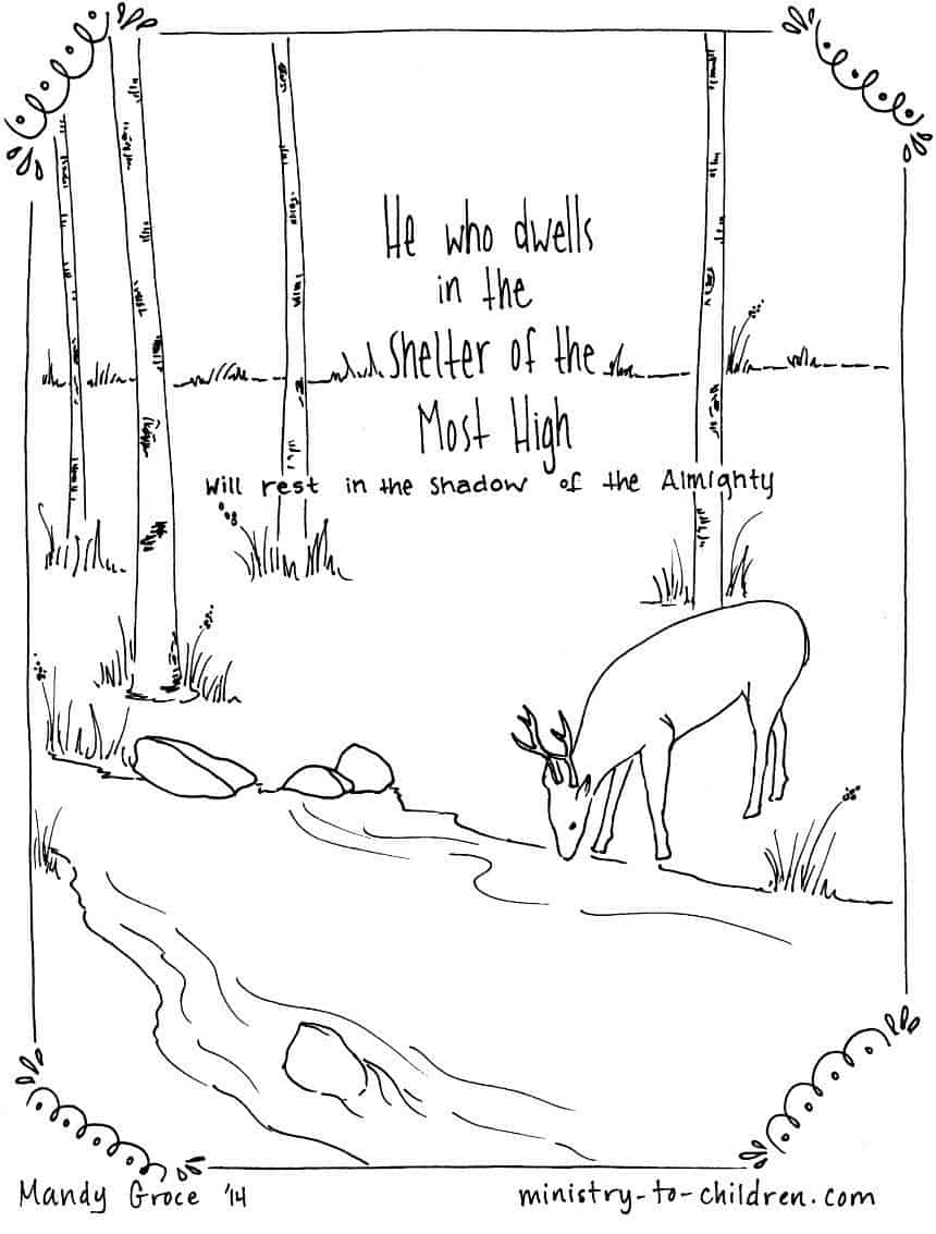 """Psalm 91:1 Coloring Page """"He who dwells in the shelter of"""