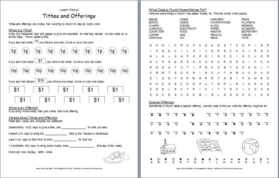 Tithes & Offerings Bible Worksheet