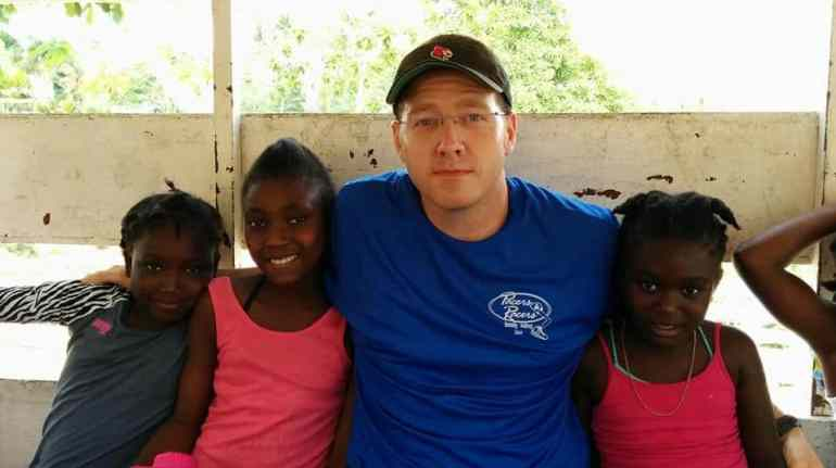 Tony and his friends in Haiti