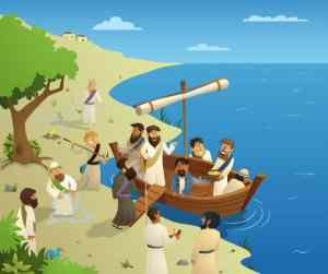 Jesus in a boat calling his disciples along the sea shore