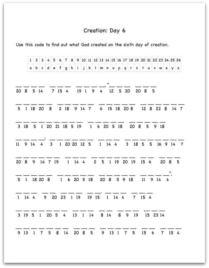 Creation Day 6 Bible Verse Decoding Worksheet