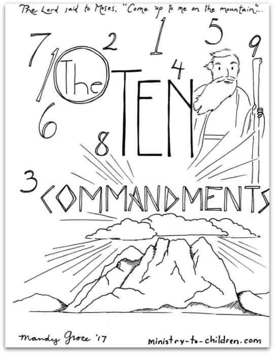 The Ten Commandments Coloring Page - free printable PDF for Kids