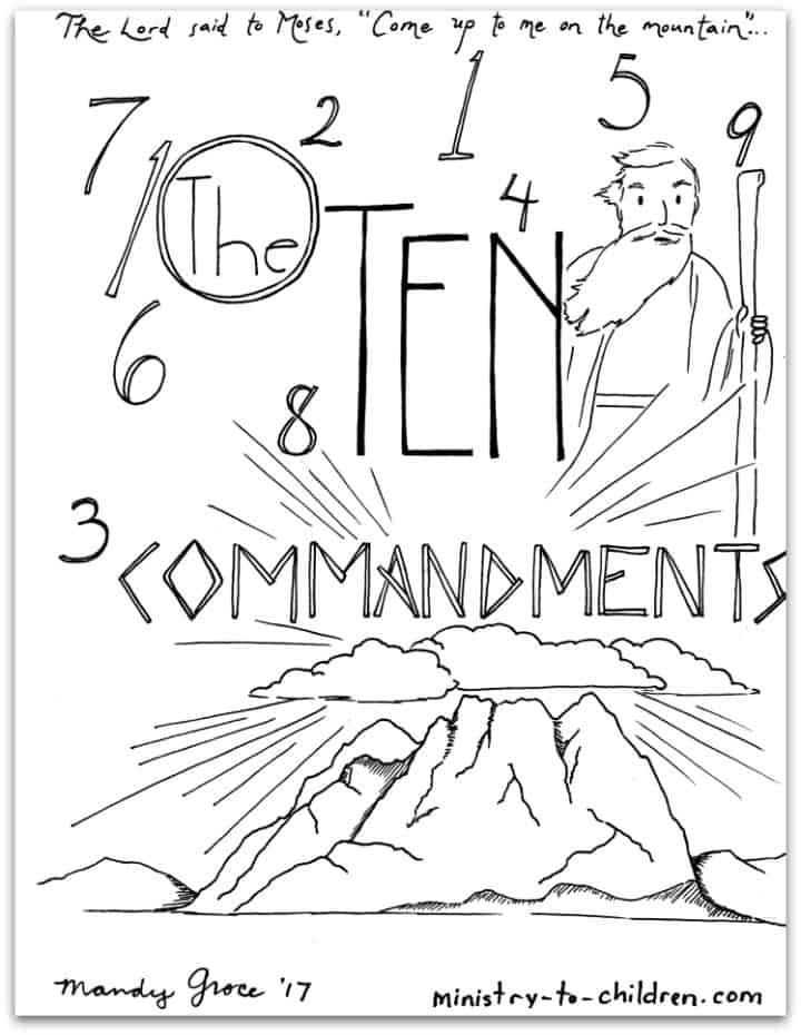 Free Printable Ten Commandments Coloring Pages : printable, commandments, coloring, pages, Commandments, Coloring, [Free, Printable, Pages