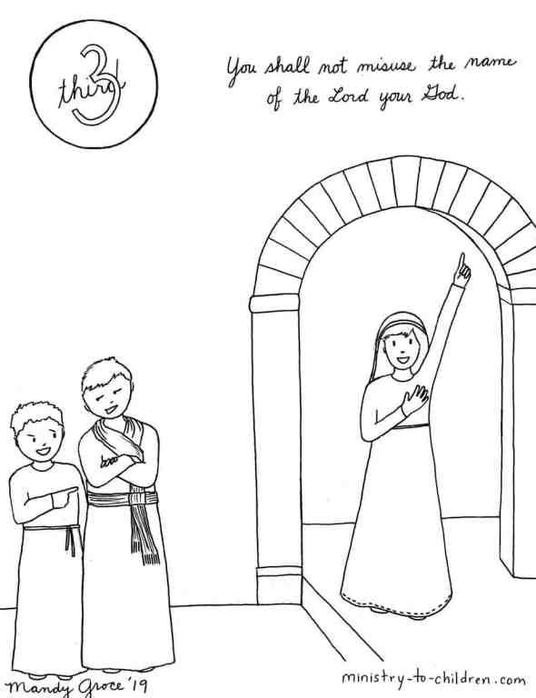 3rd Commandment coloring page - You Shall not misuse the name of the Lord your God.