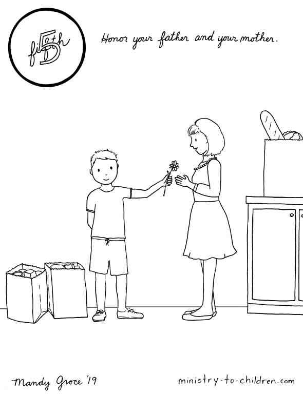 5th commandment coloring page - honor your father and mother
