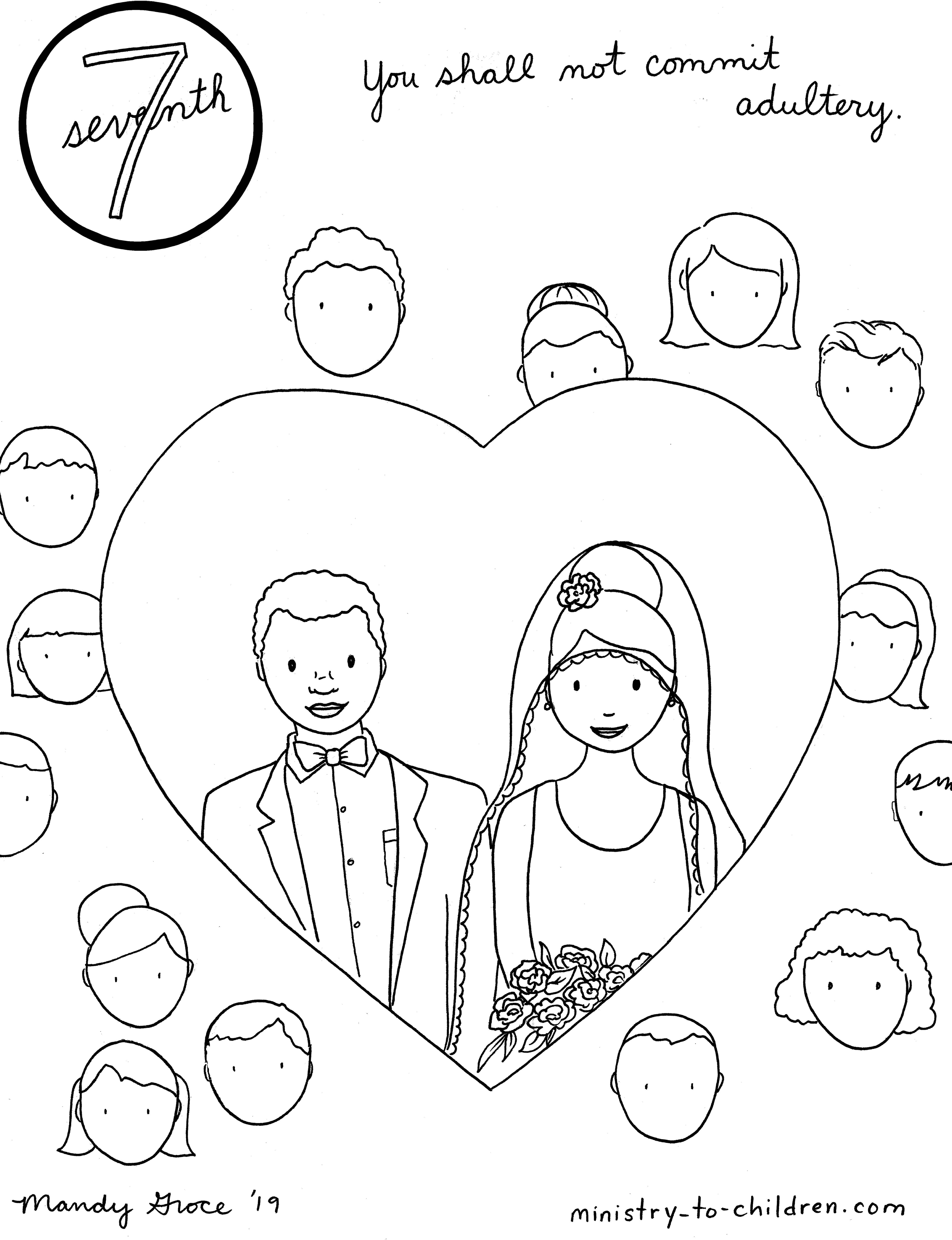 7th Commandment Coloring Page Not Commit Adultery