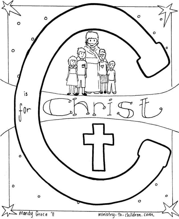 C is for Christ (Bible Alphabet Coloring Page) printable Line Drawing