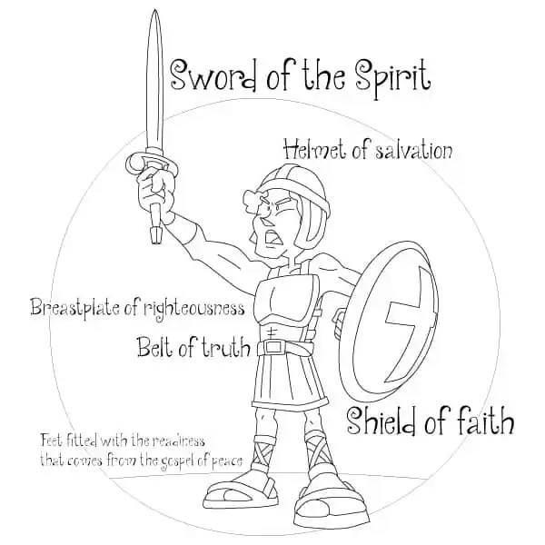 Coloring Page Armor of God Solider