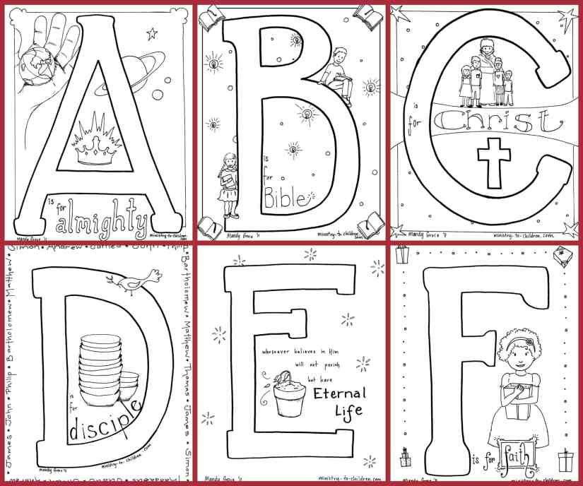 bible alphabet coloring pages - 100% free