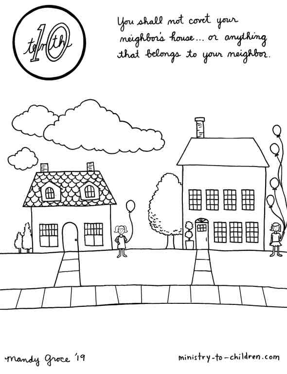 10th Commandment Coloring Page: You Shall Not Covet