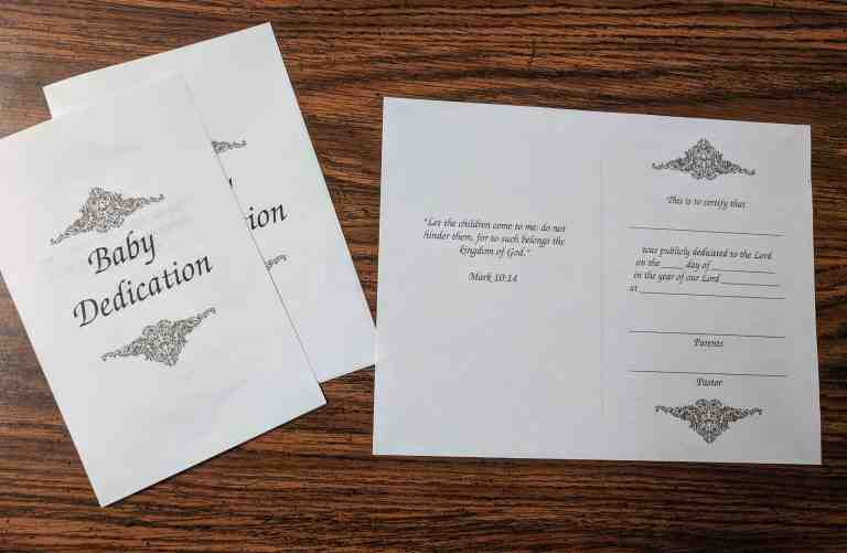 Printable Baby Dedication Certificate