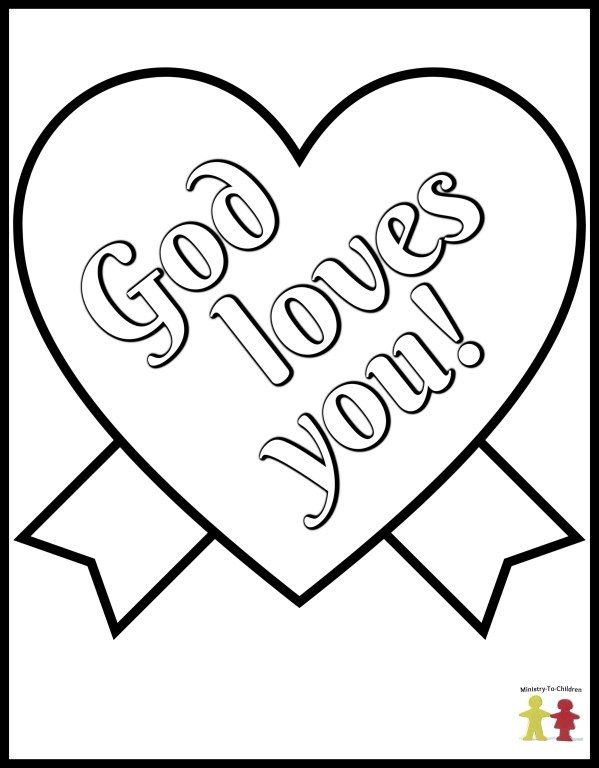 God loves you - heart coloring page