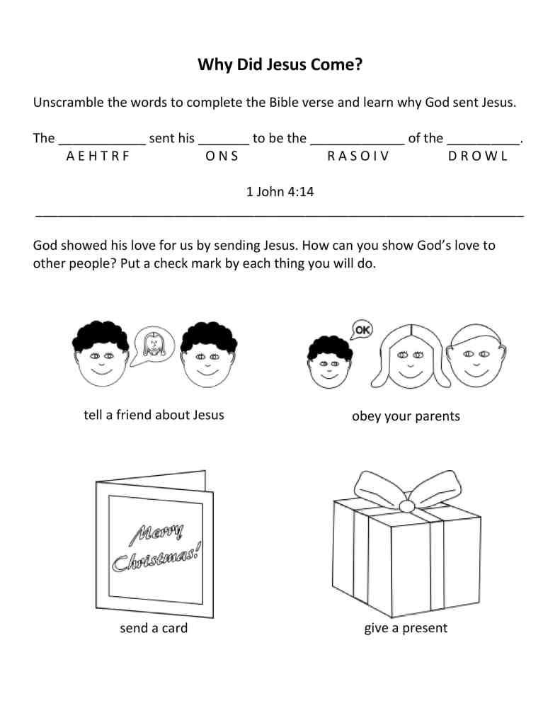 church worksheet about Jesus