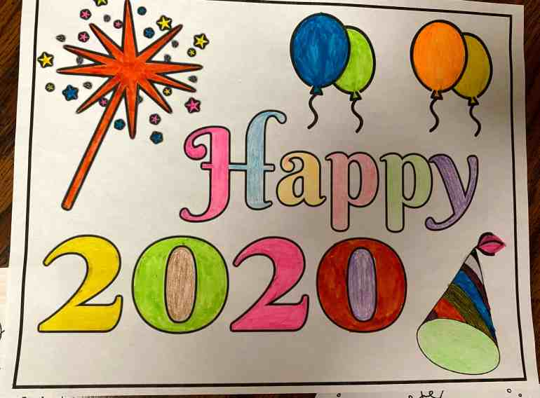 happy 2020 coloring page
