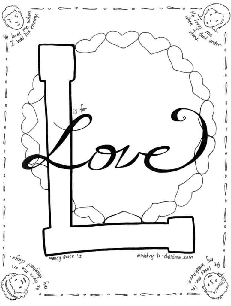 L is for Love Coloring Page about Jesus for Valentine's Day