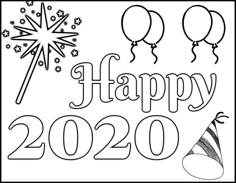 Simple Happy 2020 Coloring Page