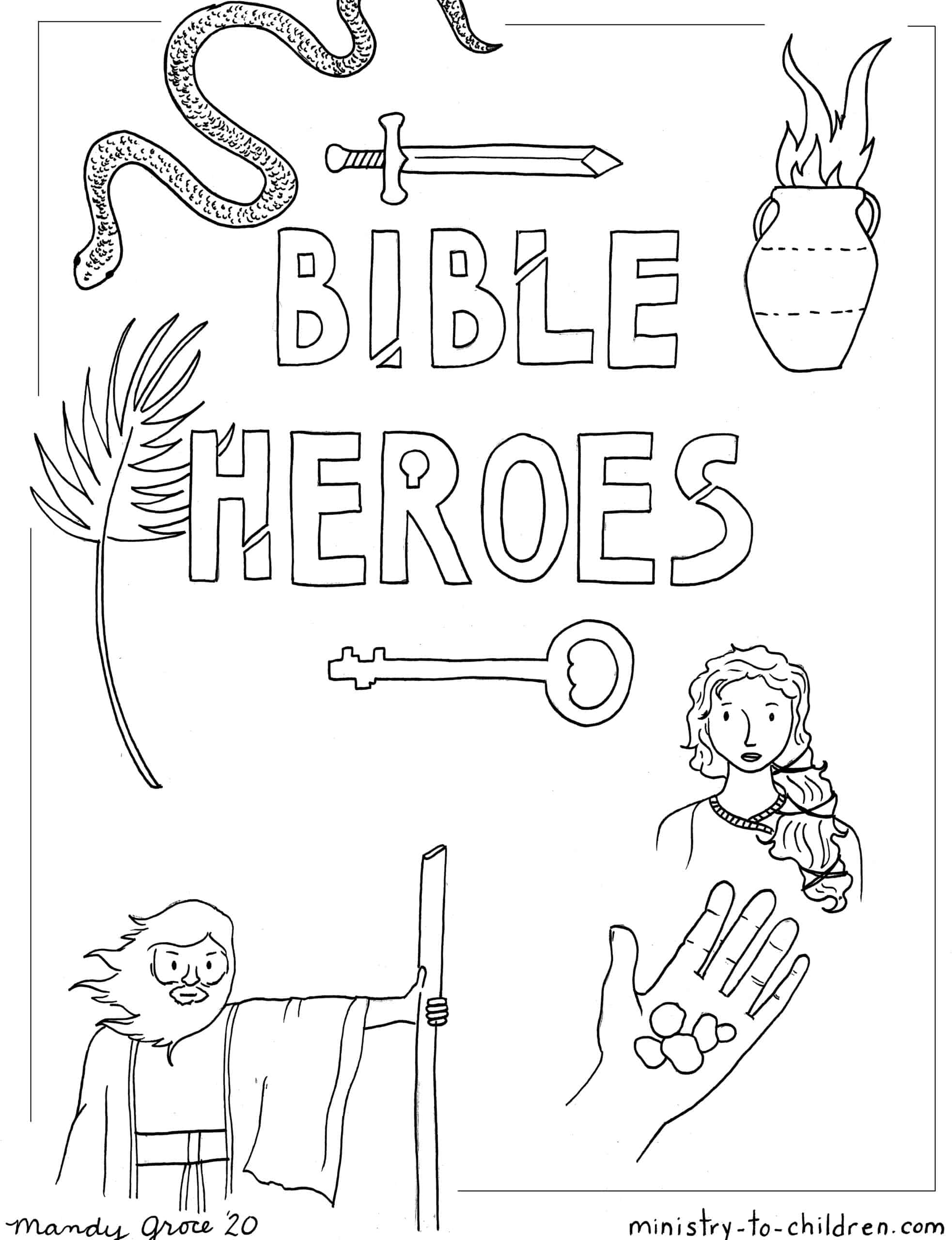 Bible Heroes Coloring Page Ministry-To-Children