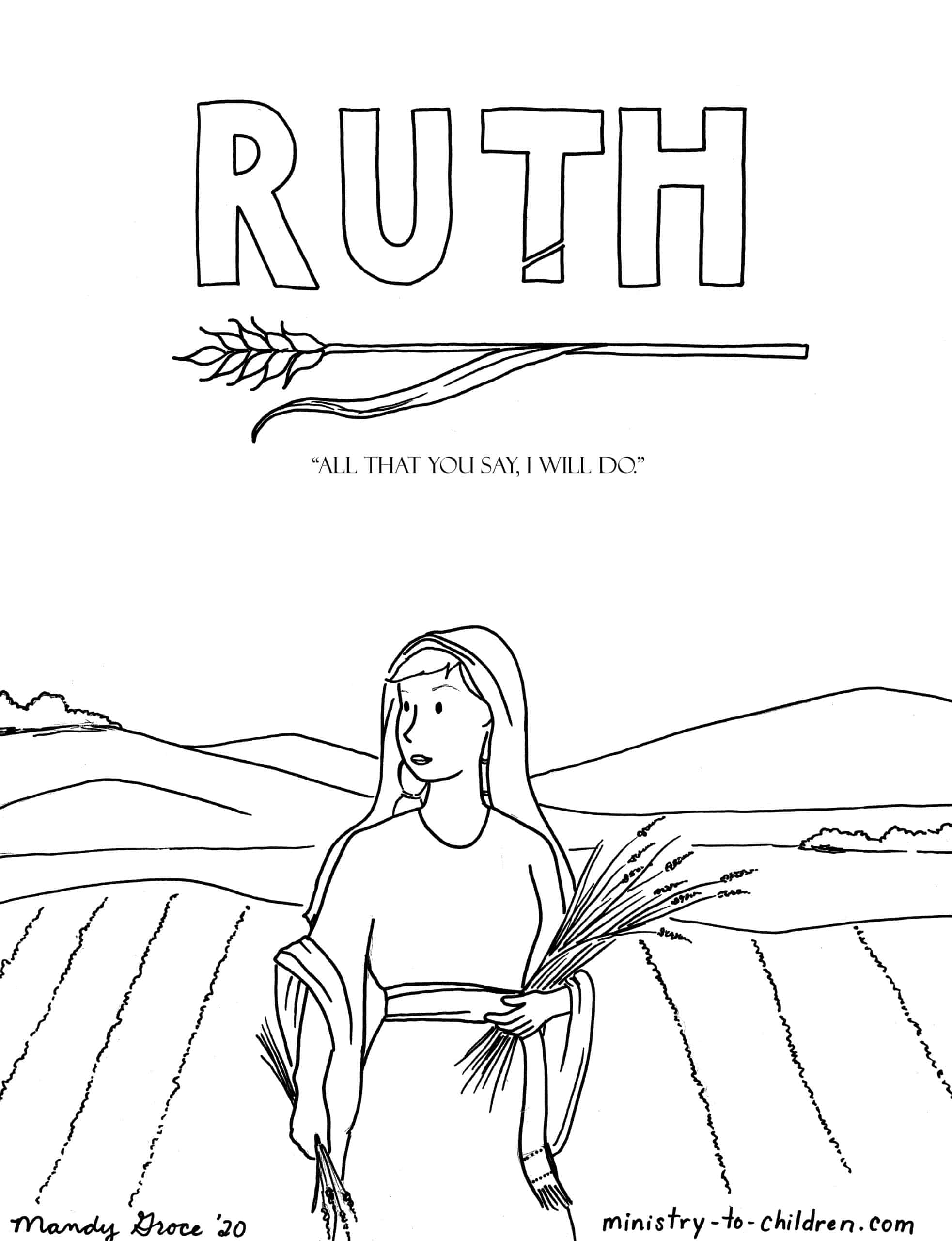 Ruth Coloring Page Ministry To Children