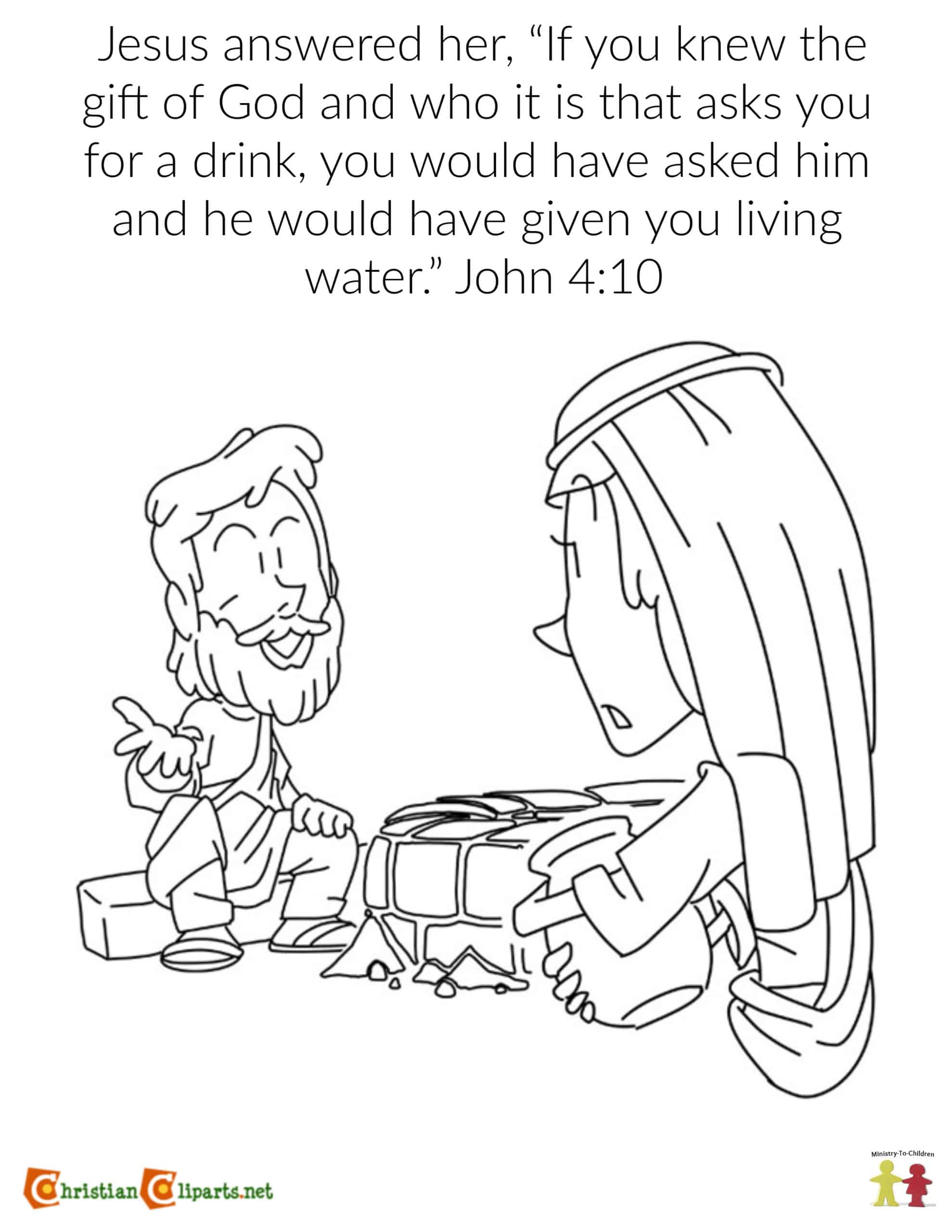 - Coloring Page: The Woman At The Well (John 4:10) Ministry-To