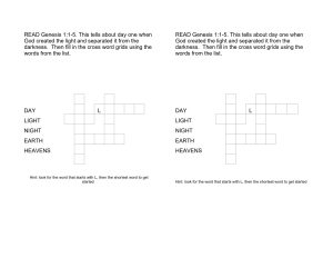 days of creation crossword puzzle worksheets