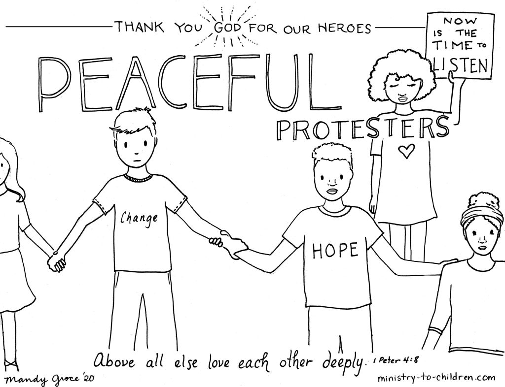 Coloring Page: Peaceful Protesters are Heroes